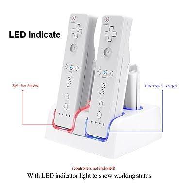 Prous Estación de Carga 4 en 1 para Mando a Distancia Wii, LU10 Wii con Cuatro Baterías Recargables Wii e Iluminación LED para Mando a Distancia ...