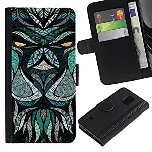 All Phone Most Case / Oferta Especial Cáscara Funda de cuero Monedero Cubierta de proteccion Caso / Wallet Case for Samsung Galaxy S5 V SM-G900 // Teal Abstract Animal Eyes Cartoon