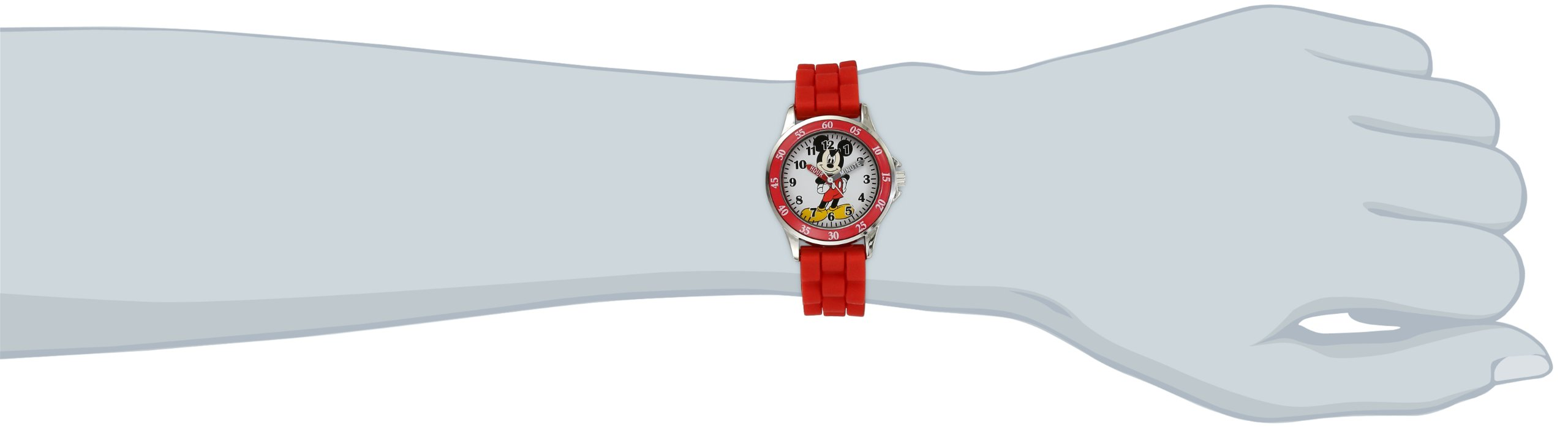Disney Kids' MK1239 Time Teacher Mickey Mouse Watch with Red Rubber Strap by Disney (Image #2)