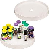 mDesign - Organizador giratorio de plástico para maquillaje, cosméticos, esmaltes de uñas, vitaminas, kits de afeitado…