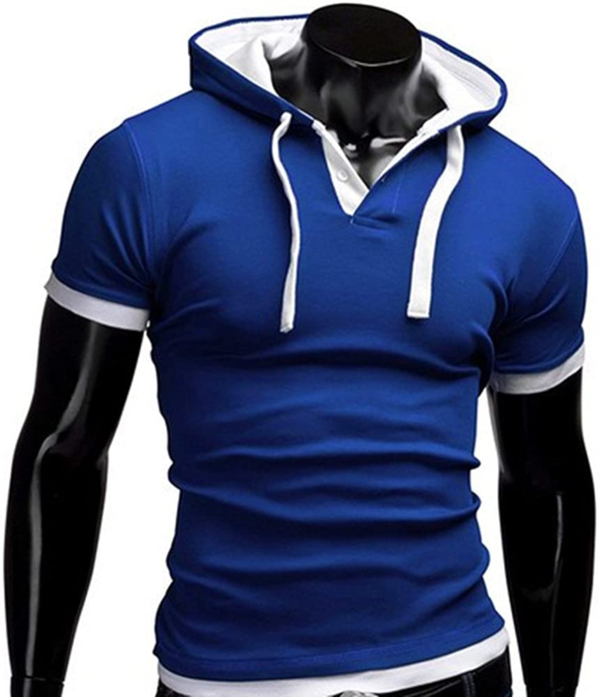 iLUGU Men Summer Fashion Pullover Mens Comfy Stretch T-Shirt Solid Color Hooded Short Sleeve