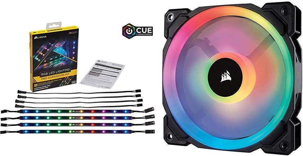 Corsair Lighting Pro - Kit de expansión RGB LED + LL120 RGB Ventilador de PC (120 mm, Doble Halo RGB LED PWM) Paquete Soltero