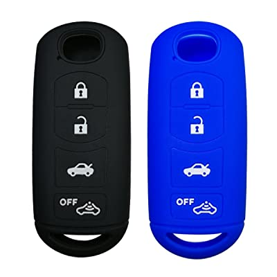 Coolbestda 2Pcs Silicone Smart Key Fob Skin Cover Protector Keyless Jacket Remote Holder for 2020 2020 Mazda CX-5 CX-7 CX-9 Mazda 3 6 MX-5 Miata Toyota Yaris 4buttons Smart Key Black Blue: Automotive