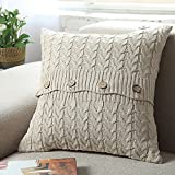 Decorative Pillow Cover - Famibay pilllow covers Decorative Cotton Knitted Pillow Case Cushion Cover Double-Cable Knitting Patterns Soft Warm Throw Pillow Covers 18
