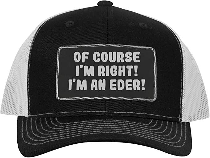 Im an Emiline! Leather Dark Brown Patch Engraved Trucker Hat of Course Im Right
