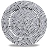Benzara BM174295 Hammer Pattern Round Plastic Charger Plate Set of 8 Electroplating Finish, One Size, Silver