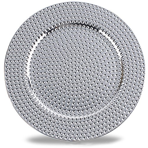 Benzara BM174294 Hammer Pattern Round Plastic Charger Plate (Set of 6), One Size, Silver