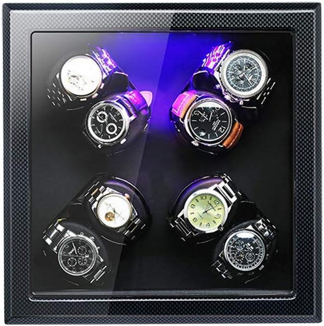 ワインディングマシーン ウォッチワインダー, 5 モード切替 LED照明付き, 矩形 腕時計収納ボックス (Size : A-08)