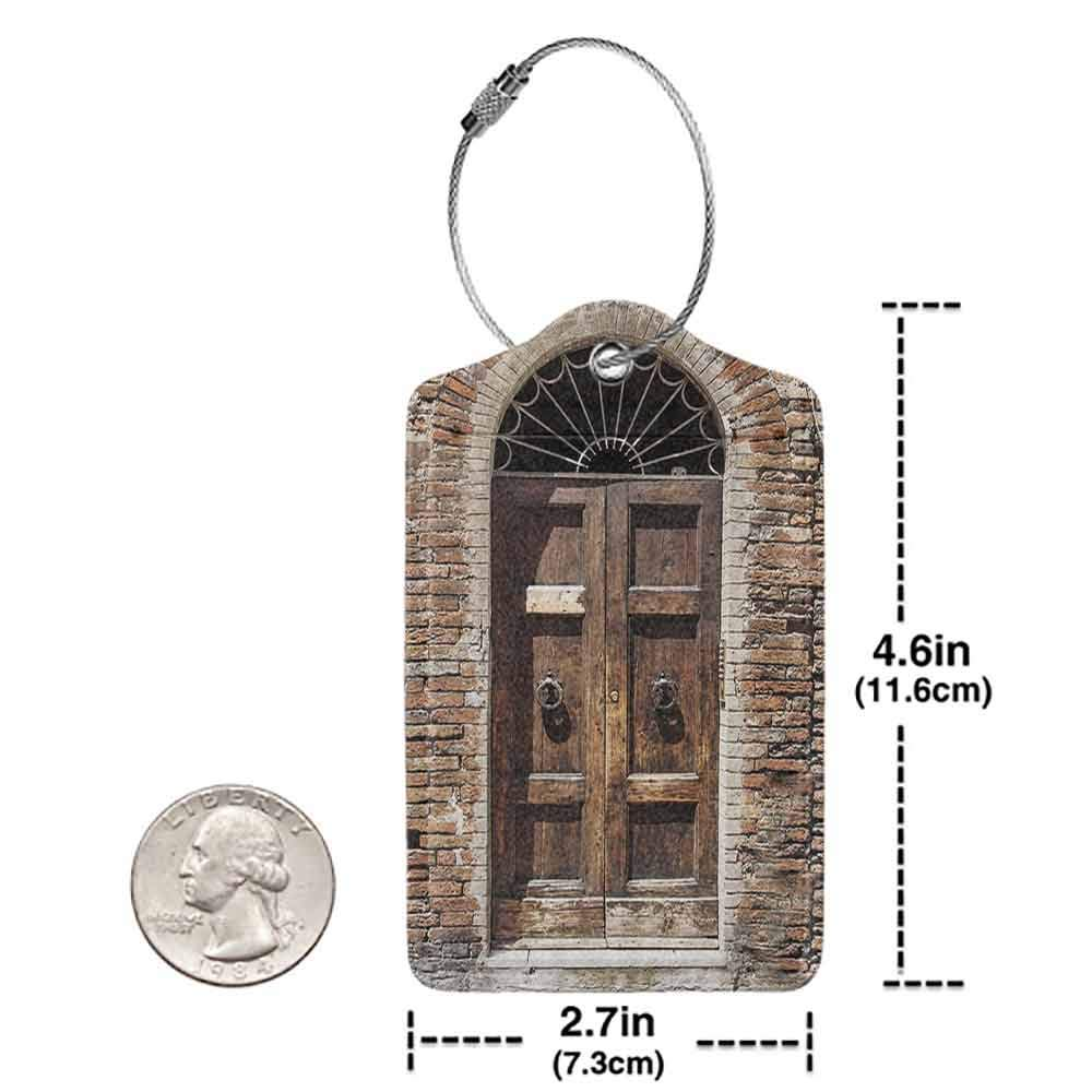 Flexible luggage tag Tuscan Decor Collection Antique Looking Window on Ancient Stone Wall Photography Fashion match Brown Ivory Peru W2.7 x L4.6