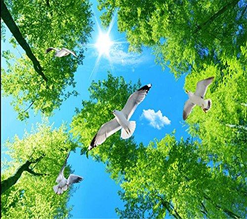 140X70Cm,Hd 3Dの夢緑の森の空ピジョンの天井のゼニスの壁のバスルームの床の滑り止めの床3Dの床Papel De Parede,By ZLJTYN B07F3W6WHV 140X70CM