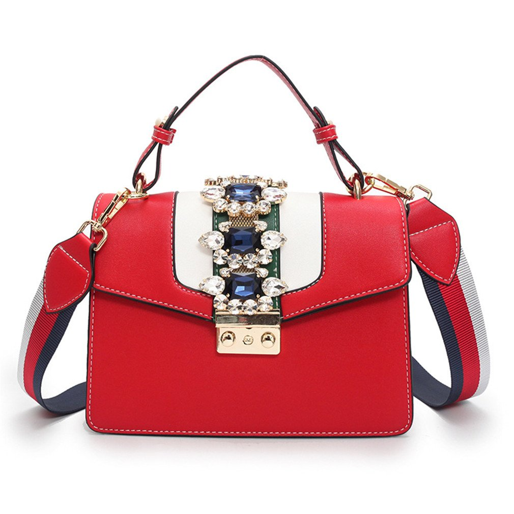 Locking Small Square Rhinestone Shoulder Bag Pu Leather Handbag Ladies Crossbody Messenger Bags Red