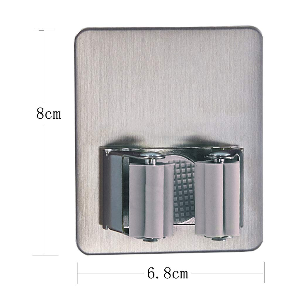 Stainless Steel Mop Hook Punch Free Broom Wall Hanging Mop Storage Card Holder Kitchen Bathroom Strong Hook (Color : Gray, Size : L) by HUACANG (Image #1)