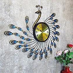 Imoerjia Creative Peacock Iron Wall Clock with Diamond Crystal Diamond Mute Extra Living Room Bedroom Clocks