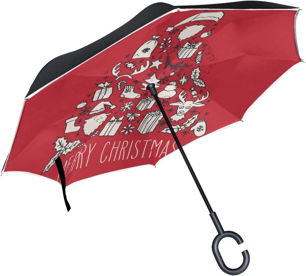 Merry Christmas Greeting With Christmas Tree Double Layer Windproof UV Protection Reverse Umbrella With C-Shaped Handle Upside-Down Inverted Umbrella For Car Rain Outdoor