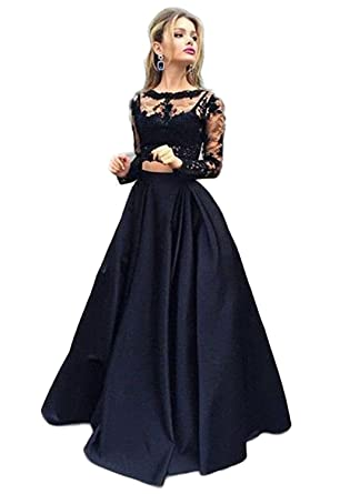 FIGHOUOR Two Pieces Black Lace Cheap Prom Dresses 2018 Evening Dress at Amazon Womens Clothing store:
