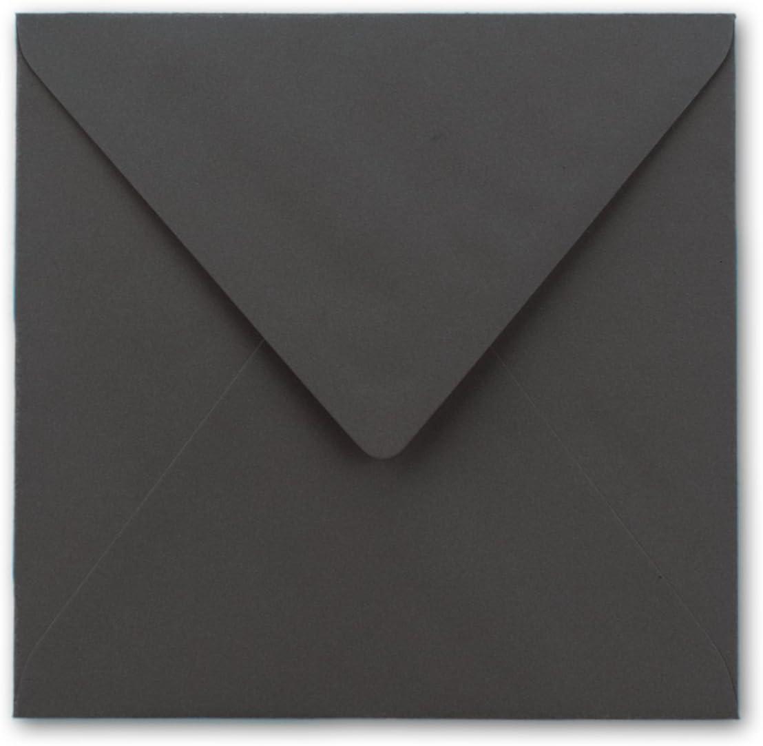 Dunkel Grau 146 x 146 mm 14,6 x 14,6 cm 100 g//m/² Feuchtklebend 50 quadratische Briefumschl/äge Grammatur Dreieckslasche mit Innenfutter Verschluss