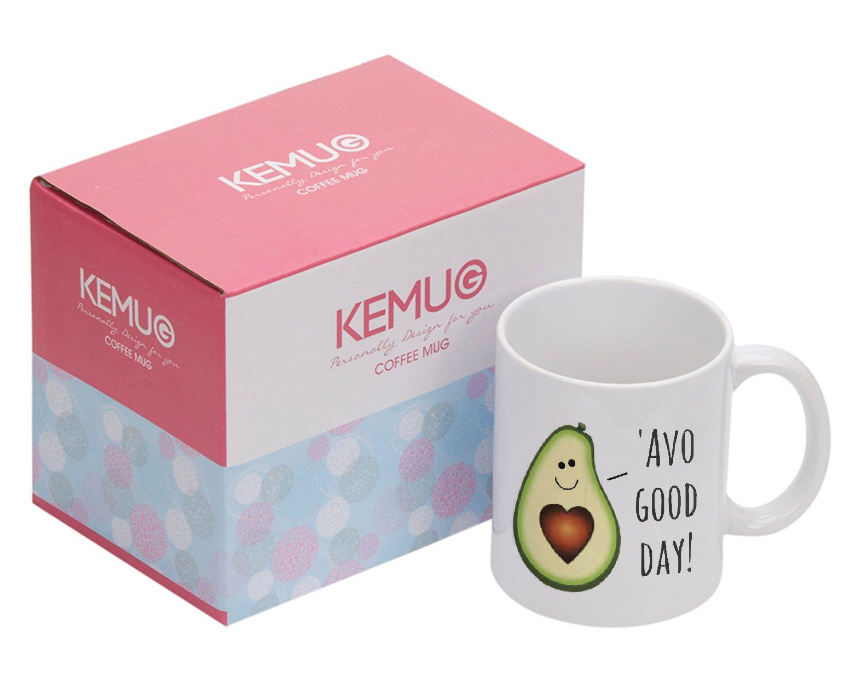 Kemug - Funny Ceramic Coffee Mug - Funny Avocado Pun Coffee Mug - Punny Avocado Mug Gift - 'AVO Good Day! Zhihui Co. Ltd