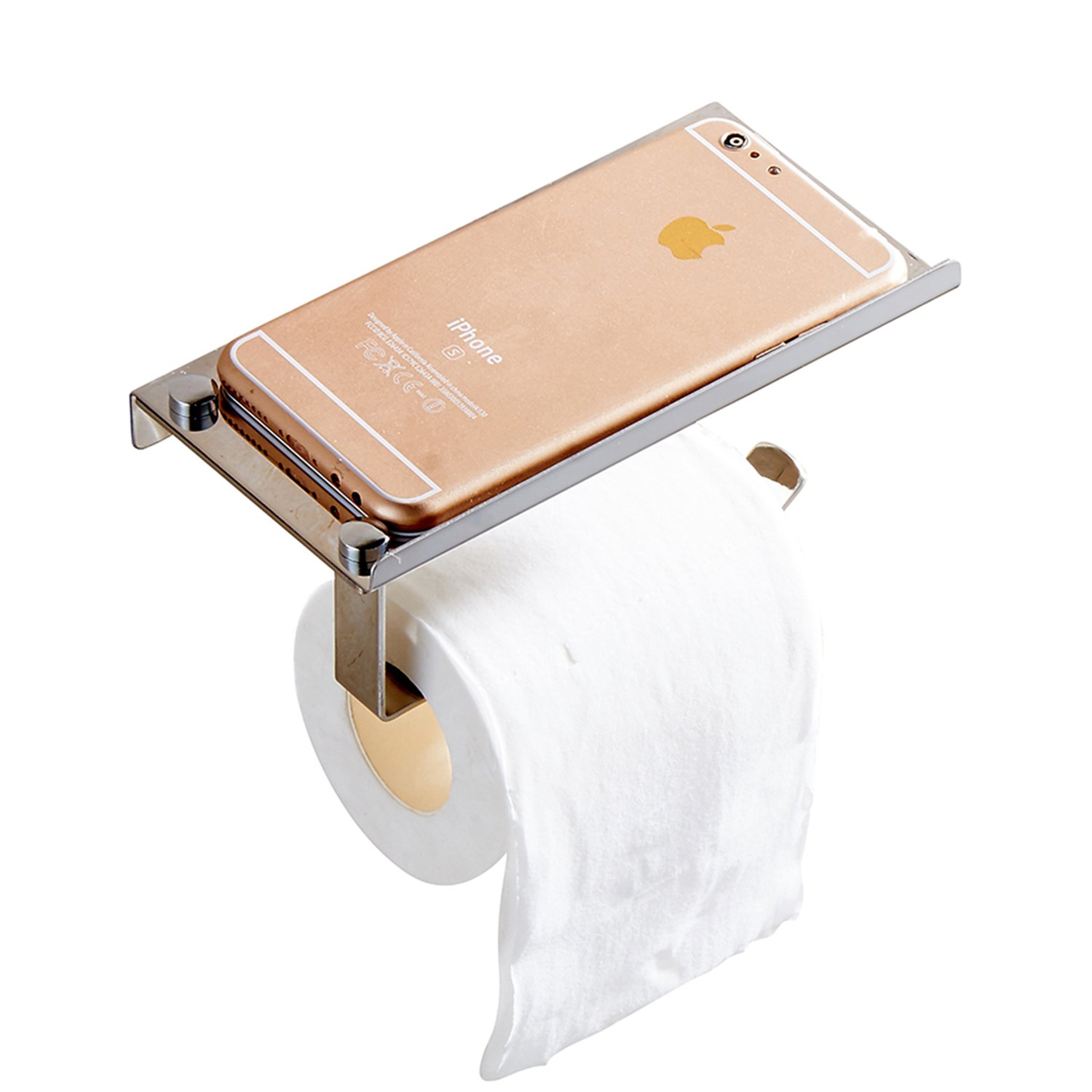 Cavoli Toilet Paper Holder,Wall Mounted,Stainless Steel Roll Holder with Storage Shelf for Mobile Phone,Brushed