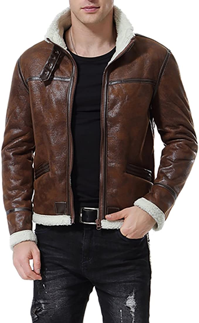 Aowofs Men S Faux Leather Jacket Brown Motorcycle Bomber Shearling Suede Stand Collar At Amazon Men S Clothing Store