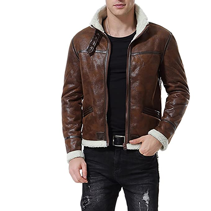 AOWOFS Mens Faux Leather Jacket Brown Motorcycle Bomber Shearling Suede Stand Collar