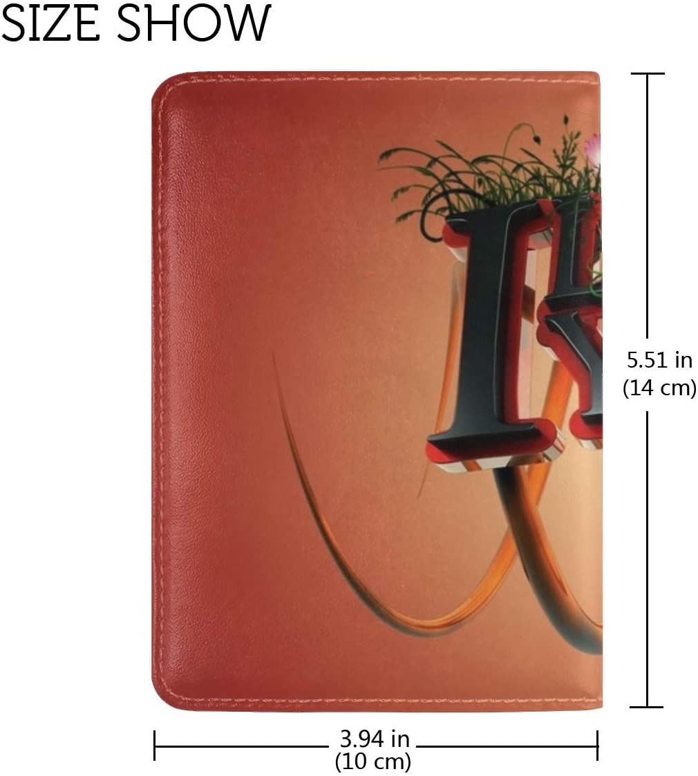 JiaoL Love Acceptance Flowers Grass Letters Leather Passport Holder Cover Case Travel One Pocket