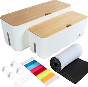 HomeBliss Cable Management Box with Bamboo Lid Small & Large Cord Organizer Box for Power Strips, Chargers, Surge Protectors, USB Hub, Adapters Wires Hider for Home TVs Office Computers White Clips