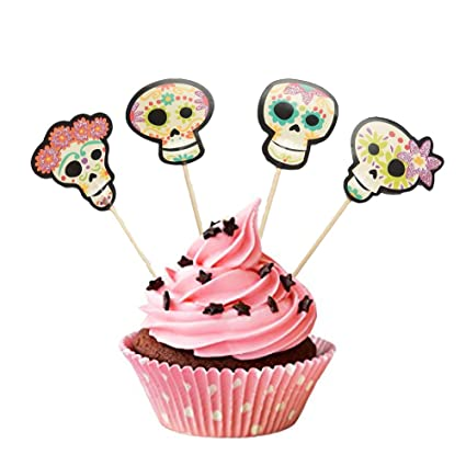 partymaster halloween decorations skeleton design lot of 36pcs food toothpicks cupcake muffin toppersmixed packaging