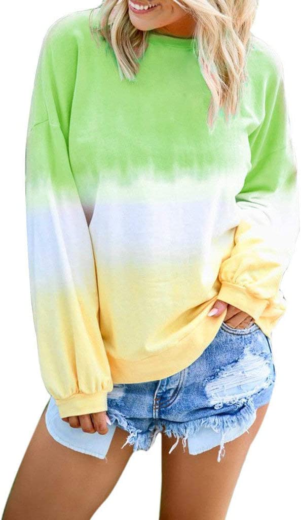 Womens Casual O-Neck Gradient Contrast Color Long Sleeve Top Pullover Sweatshirt Flattering Warm Tunic Blouses Light Blue, XL