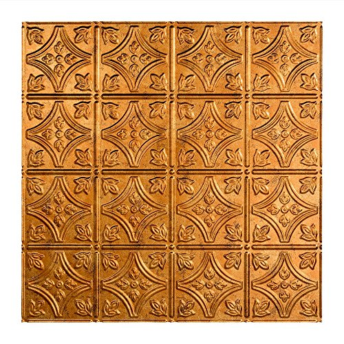 Decorative Ceiling Tile (Fasade Easy Installation Traditional 1 Muted Gold Lay In Ceiling Tile / Ceiling Panel (2' x 2' Tile))