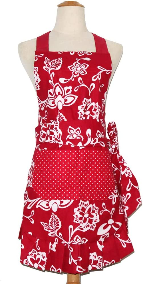 Mothers Apron for Women with Pockets, Extra Long Ties,Floral Apron, 29 x 21 - inch (Red)