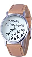 GBSELL Hot Women Leather Watch Whatever I am Late Anyway Letter Watches New Beige