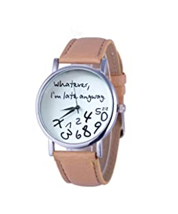 GBSELL Hot Women Leather Watch Whatever I am Late Anyway Letter Watches New (Beige)