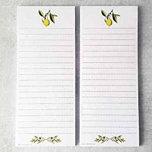 Lemon and Olive Branch Refrigerator Notepads - SET OF TWO PADS