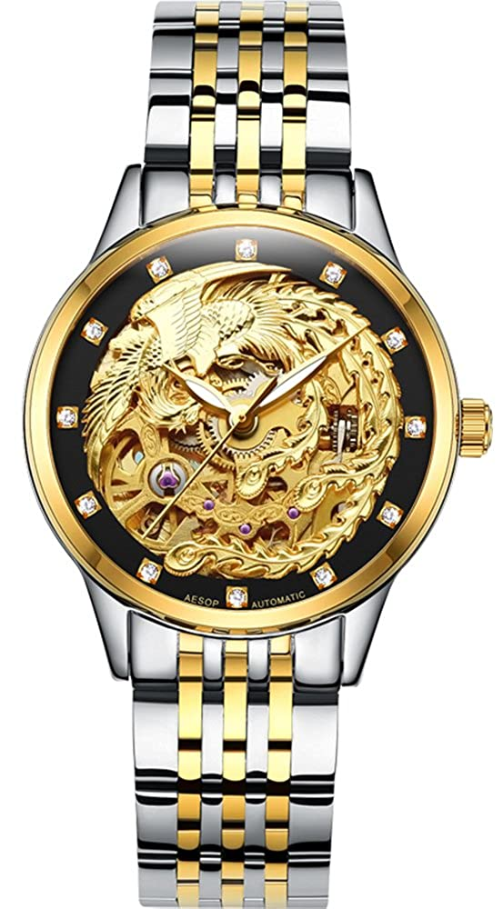 Gosasa Women s Phoenix Collection Luxury Carved Dial Automatic Mechanical Waterproof Gold-Plated Watch