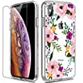 Iphone Xs Max Case With Screen Protector Luhouri Clear Women Girls Pink Floral Heavy Duty Protective Hard Pc Back Case With Slim Tpu Bumper Cover Phone Case For Iphone Xs Max 6 5 Inch 2018
