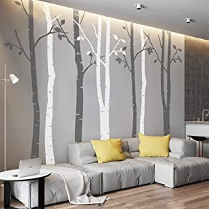 N.SunForest 7.8ft Grey and White Birch Tree Vinyl Wall Decals Nursery Forest Family Tree Wall Stickers Art Decor Murals - Set of 8