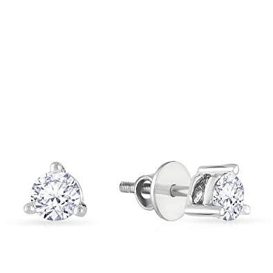 earring buy product stud round cz fashion online plated cut platinum silver white vorra