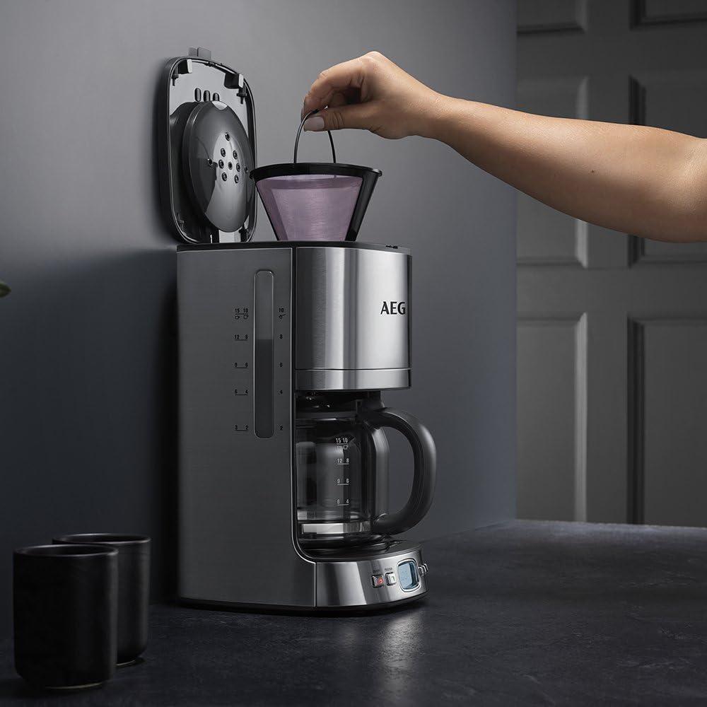 AEG KF7600 Cafetera Eléctrica, 1080 W, 1.25 litros, Acero Inoxidable, Gris: Amazon.es: Hogar