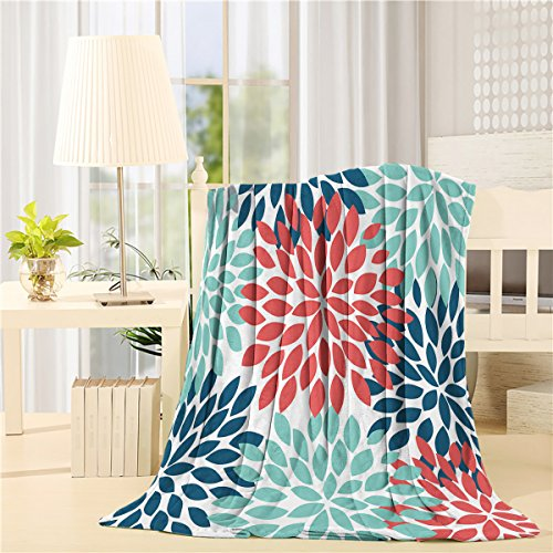 - Dahlia Flower Teal Navy Red Fleece Throw Blanket Custom, Soft Plush Flannel for Sofa/Couch/Bed/Chair, 50x80inch