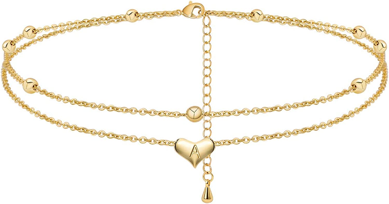Estendly Heart Initial Anklet 14K Gold Plated Layered Chain Adjustable Ankle Bracelet 26 Letters Beach Jewelry Gift for Women Girls