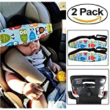 HULISEN 2Pcs Infants and Baby Head Support Band, Carseat Straps Covers, Slumber Sling, Toddler Car Seat Adjustable Sleep Positioner (Blue)