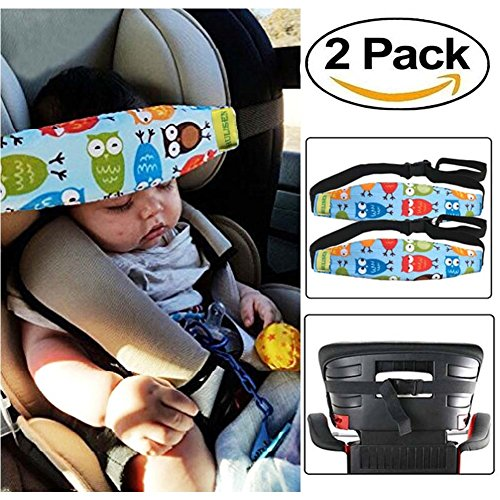 and Baby Head Support Band, Carseat Straps Covers, Slumber Sling, Toddler Car Seat Adjustable Sleep Positioner (Blue) (Car Seat Head Support)