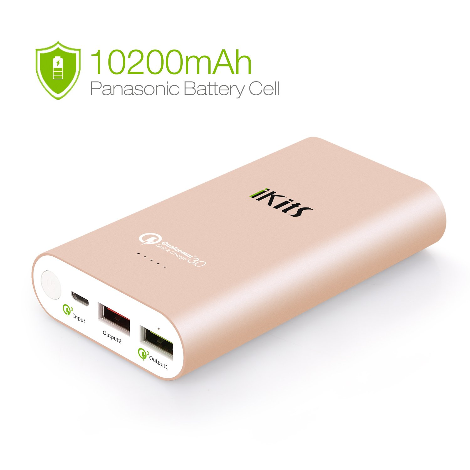 iKits Fast Charge 3.0 Ultra Slim Power Bank 5000mAh External Extended Battery Pack Input: 3.0, Output:2.0+Smart for iPhone/iPad, Samsung Galaxy Google Nexus & more Sliver+Cable 8106