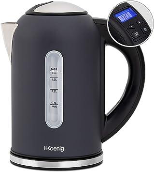 H.Koenig BOE52 Hervidor de Agua Eléctrico Pequeño, 2200 W, Capacidad de 1.7 L, Base 360º, Temp...