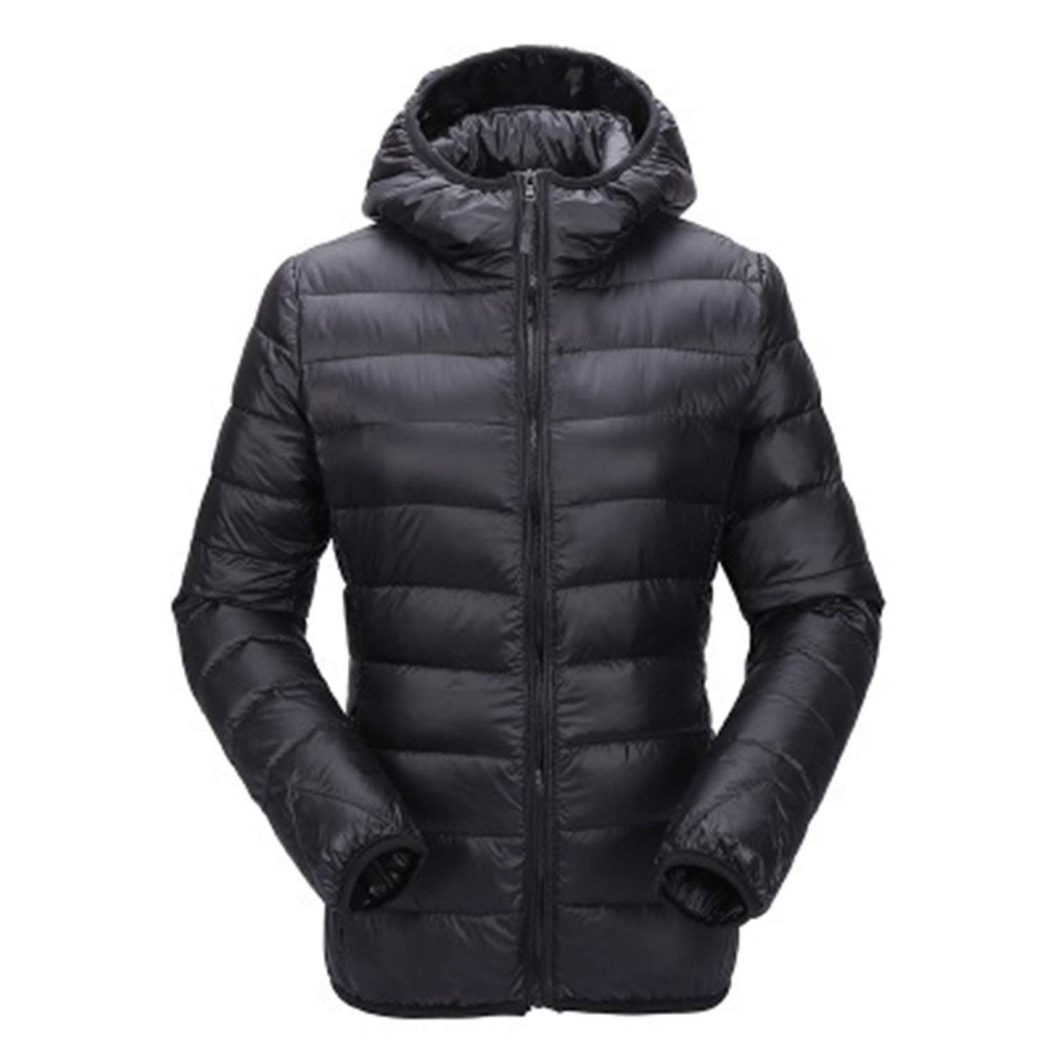 Black Hooded Winter Coat Duck Down Jackets Casual Slim Fit Long Sleeve Womens Parka Coats