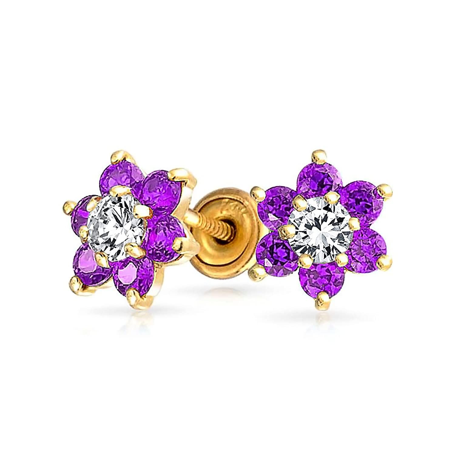 Amazon Bling Jewelry 14k Gold Simulated Amethyst CZ Flower Baby