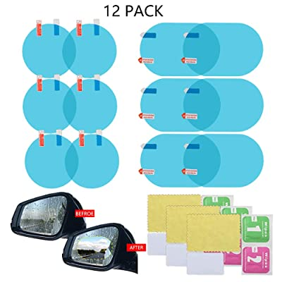 Jelacy Car Rearview Waterproof Film,Anti-Fog Film- Waterproof and Anti Fog, Anti-Glare Side Mirror Protective Film, Anti Fog Transparent car Rear View Mirror Accessories, (12 Pack): Car Electronics