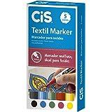 Marcador para Tecidos, CIS, 58.0700, Multicor, pacote de 5