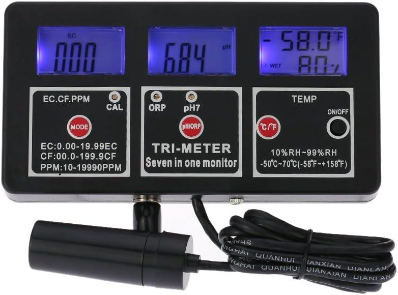 KKmoon New Professional 7 in 1 Multi-parameter Water Testing Meter Digital LCD Multi-function Water Quality Monitor ORP/pH/RH/EC/CF/TDS(PPM) / TEMP Multiparameter Water Quality Tester