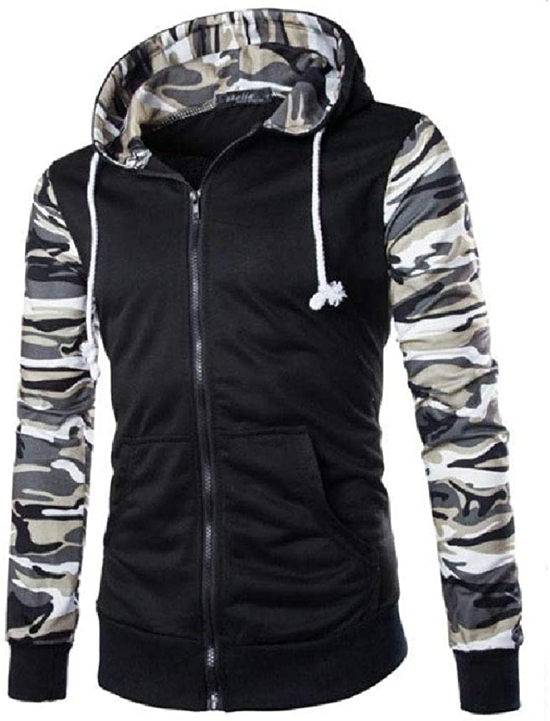 HEFASDM Men Hood Camouflage with Pocket Zipper Skinny Pullover Top Sweatshirt